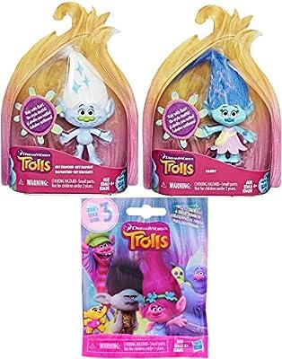 Trolls Mini Figure Pack Maddy & Guy Diamond with Flair Hair! & DreamWorks Trolls Series 3 Blind Bag Mini Figures Magic Mystery Character
