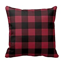 Black and Dark Red Plaid Pillow Case Decor Cushion Pillow Covers Brief Design Pillowcase Cover Two Sides