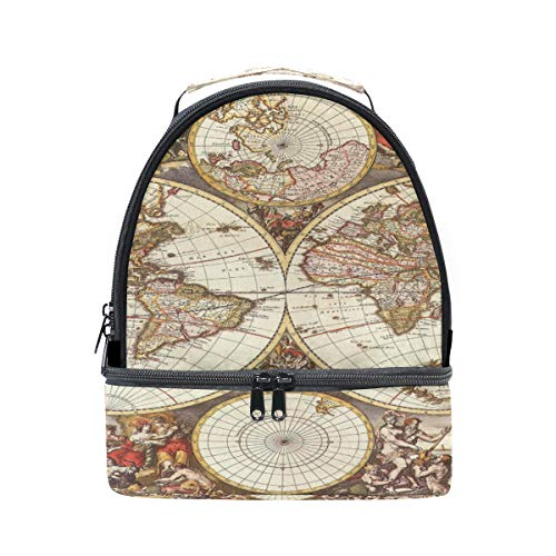 (XLING Lunch Box Bag Ancient World Map Hemispheres Double-deck Insulated Cooler Adjustable Strap Tote Handbag for Work Picnic Travel Outdoors)