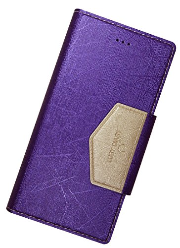 Note 3 Case, Samsung Galaxy Note3 Soft Pearl Leather Case, Mobile Slim Wallet Glossy Cover - Credit Card ID Holders - Magnet Clip (Violet with Light Gold)