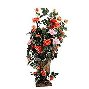 "Azoco Artificial Rose Flowers with Vase, 15"" Fake Silk Floral Arrangement Royal Decorations for Home Office Wedding Table Centerpieces Indoor Outdoor Spring Decor 96"