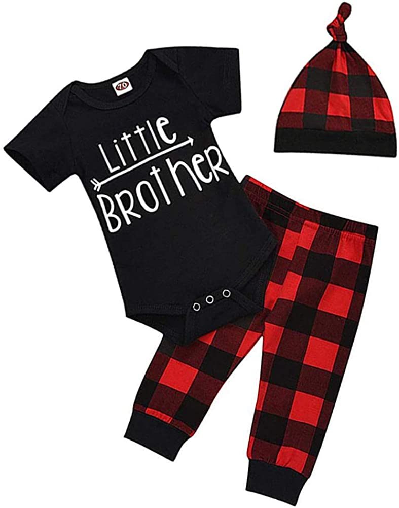 Newborn Infant Baby Boy Clothes Puffalo Romper,Deer Plaid Pant Little Man Hat 3Pcs Outfits Set