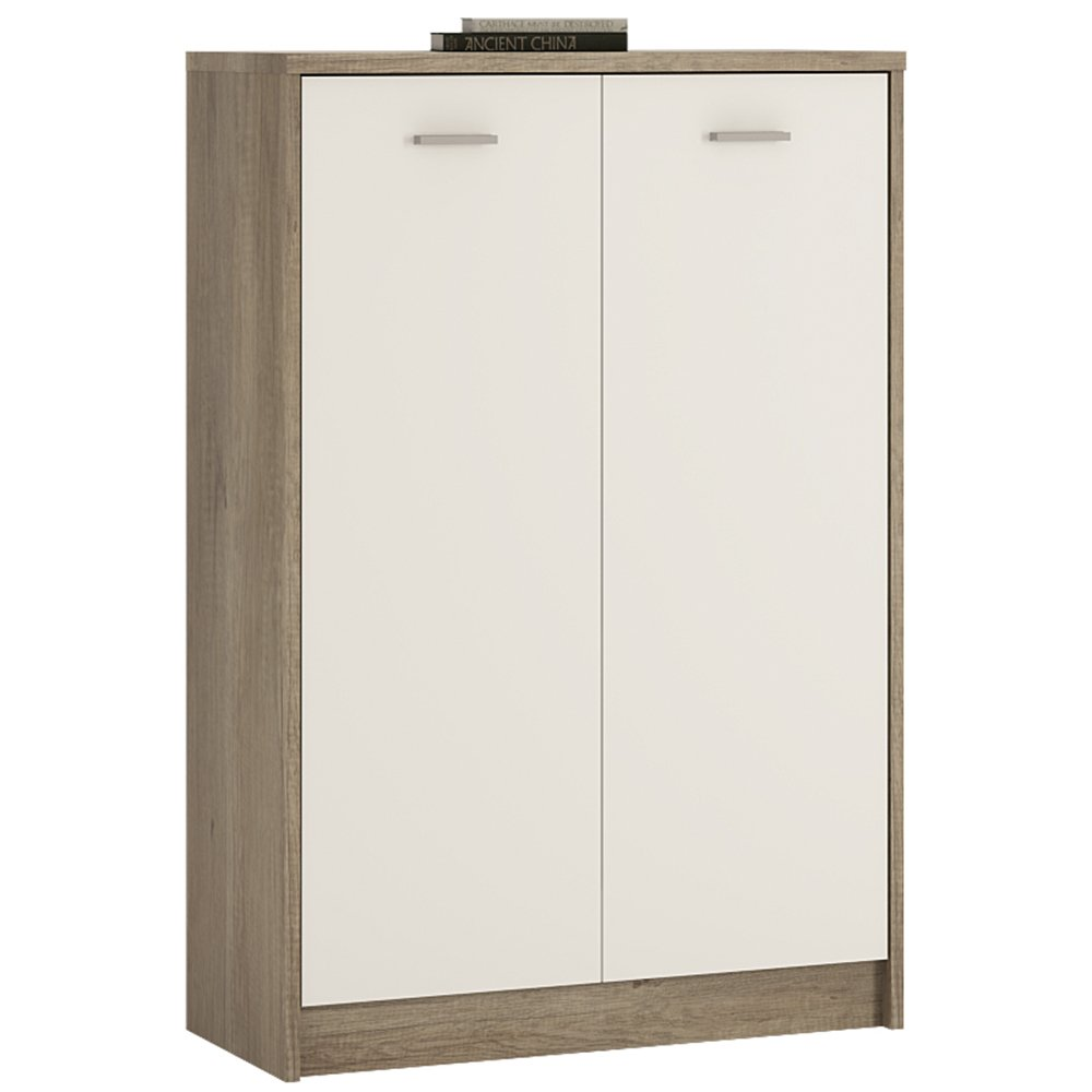 Furniture To Go 4 YOU Tall 2-Door Cupboard with Melamine, 74 x 112 x 35 cm, Canyon Grey/Pearl White Wojcik 4051652