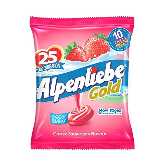Alpenliebe Gold, Cream Strawberry Candy Pouch, 184 g, 46 pc