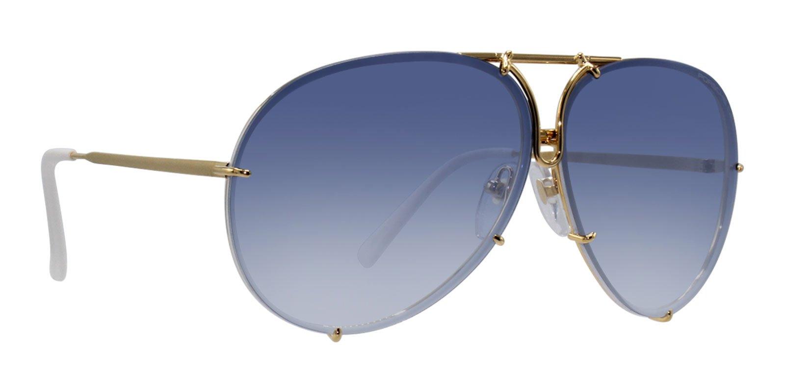 Porsche Design Sunglasses, Gold/Blue/White, 66mm