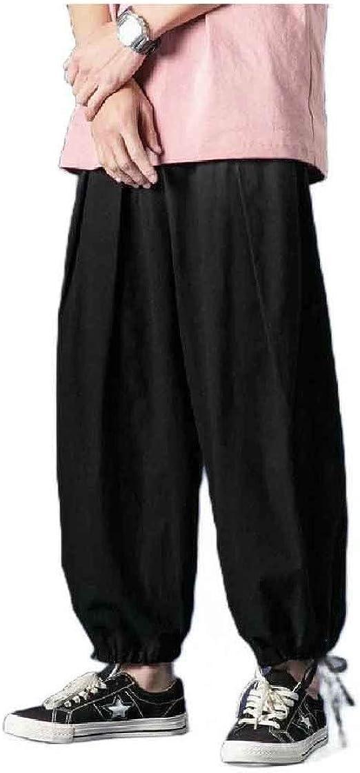 cheelot Men Chinese Style Summer Chinese Costume Harem Cotton Linen Pants