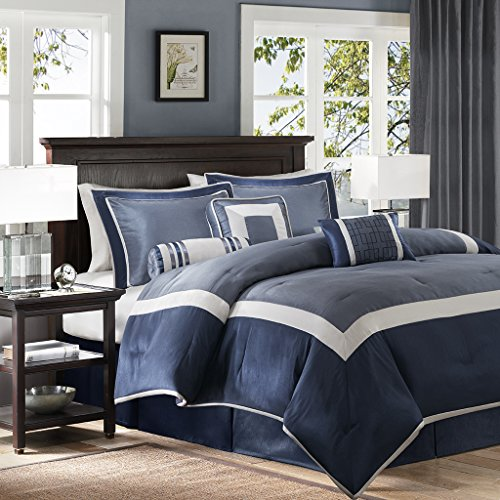 7 Piece Faux Silk (Madison Park Genevieve Cal King Size Bed Comforter Set Bed In A Bag - Navy, Pieced – 7 Pieces Bedding Sets – Faux Silk Bedroom Comforters)