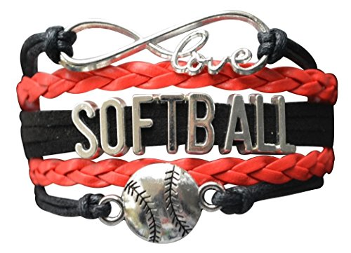 Bags Red Jewelry Bow Gift - Softball Bracelet- Softball Love Infinity Jewelry for Softball, Softball Mom or Softball Team