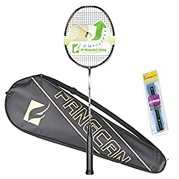 FANGCAN N90 III Woven 1K Graphite Ultralight Weight High End Professional Badminton Racket with Protection Bag and Overgrip