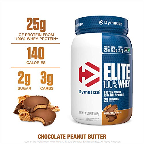 Dymatize Elite 100% Whey Protein Powder, 25g Protein, 5.5g BCAAs & 2.7g L-Leucine, Quick Absorbing & Fast Digesting for Optimal Muscle Recovery, Chocolate Peanut Butter, 2 Pound