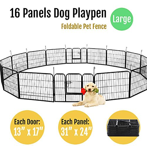 "go2buy 16 Panels Dog Playpen Metal Pet Puppy Cat Exercise Fence Barrier 24"" Tall by go2buy"
