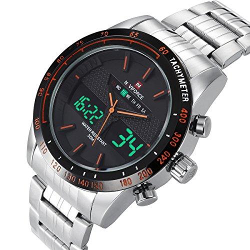 Voeons Men's Silver Steel Sport Watch