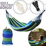 WeHammock Double Camping Hammock with Tree Straps and Rope, Soft Woven Cotton with Max 250 lbs Capacity Portable 2 Person Hammock for Indoor Outdoor Backpacking Travel Beach Backyard Hiking