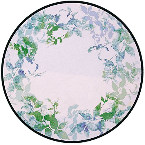Printing Round Rug,Mint,Floral Spring Wreath in Watercolor Paintbrush Stylized Hazy Effects Artful Image Mat Non-Slip Soft Entrance Mat Door Floor Rug Area Rug For Chair Living Room,Seafoam Violet ()