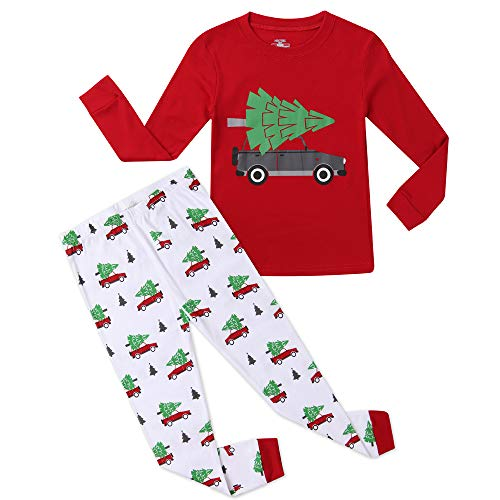 Hsctek Christmas Pajamas Set, Children Long Sleepwear Pjs, Kids Warm Cotton Clothes(Christmas Tree Delivery 1, 3T) ()