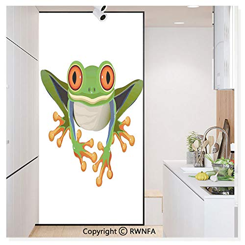 Window Film No Glue Glass Sticker Cute Illustration of Big Red Eyed Tree Frog on Simple Background Kids Cartoon Print Static Cling Privacy Decor for Kitchen Bathroom 17.7x59.8inches,Green White