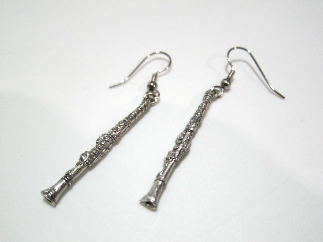 Exclusive Pewter Earrings - Clarinet