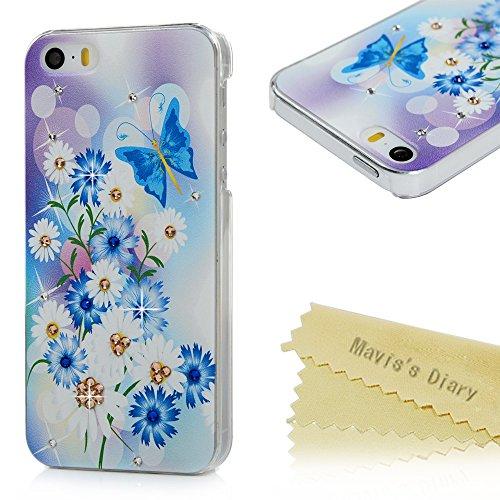 Mavis's Diary Coque iPhone 5/iPhone 5S/iPhone SE PC Rigide Transparent Fleur Papillon Dessin Coloré Housse de Protection Étui Téléphone Portable Phone Case Cover+Chiffon