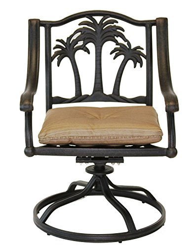 Palm Tree Outdoor Patio 4 Swivel Rocker Dining Chairs Dark Bronze Cast Aluminum, Walnut Cushions For Sale
