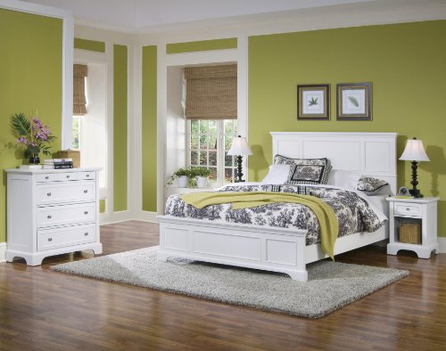 Amazon.com - Naples White King Bed with Night Stand and ...