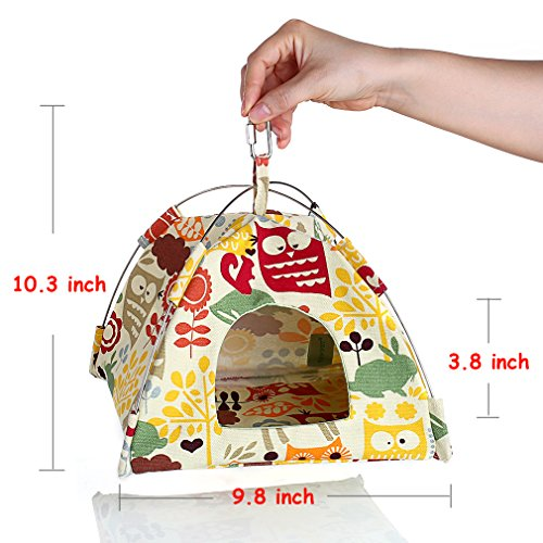 KINTOR Bird Nest House Bed, Parrot Habitat Cave Hanging Tent, Vibrant Parakeet Snuggle Hut Hammock, Intelligence & Physique Improvement Cage Decor for Small Animals (M) by KINTOR (Image #1)