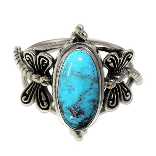 (NOVICA Dyed Magnesite .925 Sterling Silver Cocktail Ring, Dragonfly Sky' )