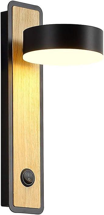 AKBOY Aplique de Pared LED Interior Lámpara de Pared con Interruptor Pulsador DIY 5W Luz Puede Girar Giratorio de 350° Luz de Libro Madera maciza Para Dormitorio Habitación Escaleras Balcón (Negro): Amazon.es: