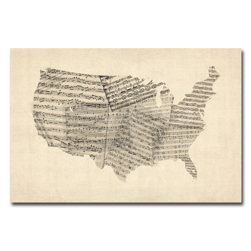 picture of Trademark Fine Art USA Old Sheet Music Map by Michael Tompsett Canvas Wall Art, 22x32-Inch