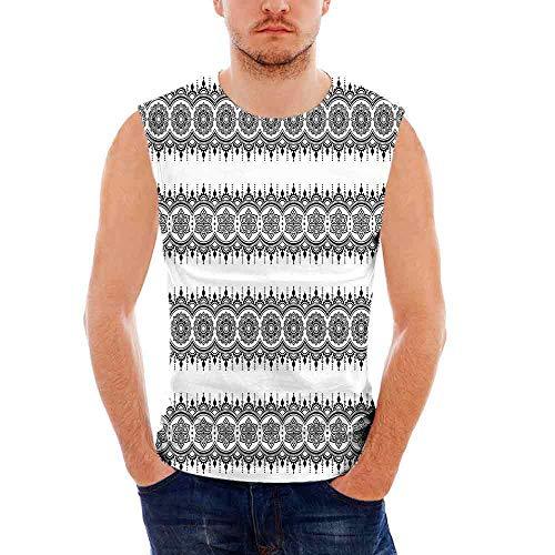 iPrint Mens Workwear Henna Sleeveless Midweight T- Shirt,Black
