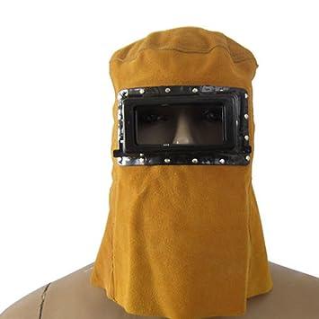 Xpccj Blasting Capucha Solar Auto oscurecimiento Filtro Lente Soldador Cuero Capucha Soldadura Casco Máscara, Amarillo: Amazon.es: Deportes y aire libre