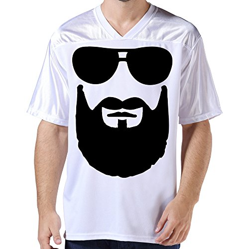 DonSir Cool Beard Sunglasses Men's Sports Team Uniform Soccer Jersey L White (Longest Beard)