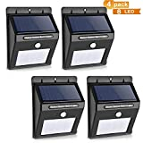 Grand Oasis 4 Pack Solar Lights, 8 LED Motion Sensor Wall Light Bright Powered Wireless Security Light LED Wall Lights Wireless Exterior Security Lighting for Step, Garden, Yard, Deck Pathway