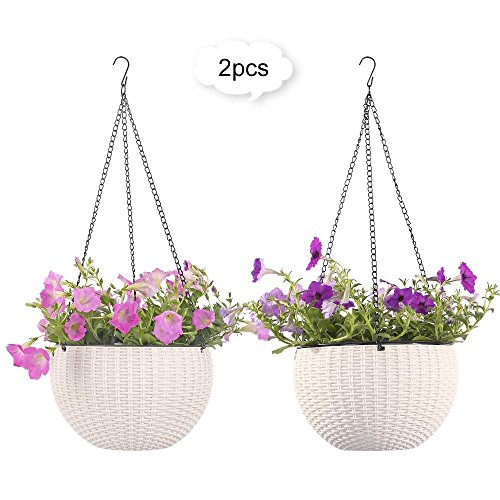 Growers Hanging Basket, Indoor Outdoor Hanging Planter Basket , 8.9 in.Round Resin Garden Plant Hanging Planters Decor Pots, set of 2 (White)