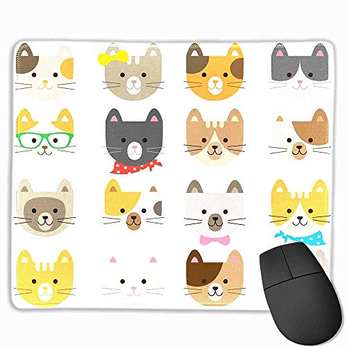 Animals Computer Mouse pad Cats Costume with Glasses and Bow Tie Bandana Cartoon Artwork Craft Pattern Print Custom Mouse pad 8.5