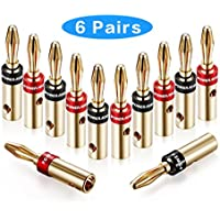 Poweradd 6 Pairs Fast-Lock Banana Plugs, Corrosion Resistant 24K Gold Plated Connectors (Closed Screw Type) for Musical Audio Speaker Wire, Wall Plate, Audio/ Video Receiver