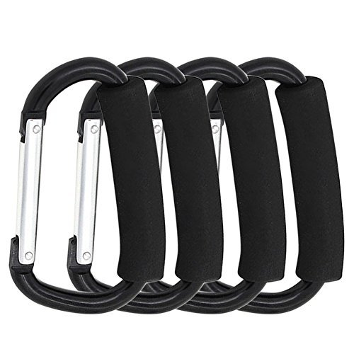 Stroller Hook / Buggy Clips / Multi Purpose Hooks / Carabiner Style Clip Great Stroller Accessory for Mommy When Walking or Shopping, Black-14cm (4pcs Mommy Hook) by Color4