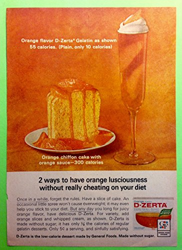 Original 1960s Ad Orange Flavor D-Zerta Gelatin Low-Calorie Dessert