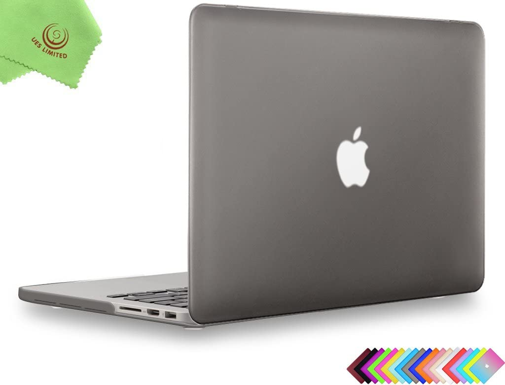 UESWILL Smooth Matte Hard Case Cover for (Mid 2012-Mid 2015) MacBook Pro 15 inch with Retina Display (No Touch Bar, No CD-ROM) (Model: A1398), Gray
