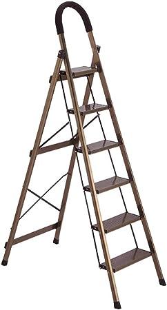 ZHAOYONGLI Taburete Plegable Escaleras de Mano Escalera Interior De Aleación De Aluminio Plegada Espesar Escaleras Multifunción Escalera Mecánica (Color : Champán, Tamaño : 44 * 83 * 143cm): Amazon.es: Hogar
