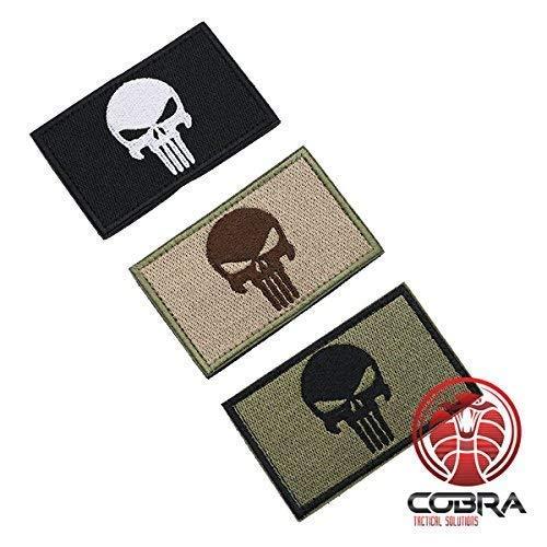 Punisher Patch Tactical Army Morale Emblem Totenkopf Schwarz grün mit Klettverschluss Airsoft