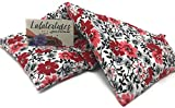 The Flax Sak Lavender Scented Large Microwavable Heating Pad, The'Flax Sak' Hot/Cold Pack With Washable Cover. Red and Black Floral.