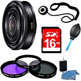 Sony SEL20F28 E-mount 20mm F2.8 Prime Lens 16GB Bundle - Includes lens 16GB SDHC Memory Card, 49mm Deluxe Filter kit, Lens Cap Keeper, Blower Dust Removal system, 3pc. Lens Cleaning Kit