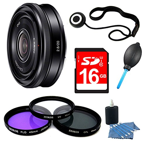 Sony SEL20F28 E-mount 20mm F2.8 Prime Lens 16GB Bundle - Includes lens 16GB SDHC Memory Card, 49mm Deluxe Filter kit, Lens Cap Keeper, Blower Dust Removal system, 3pc. Lens Cleaning Kit by Beach Camera