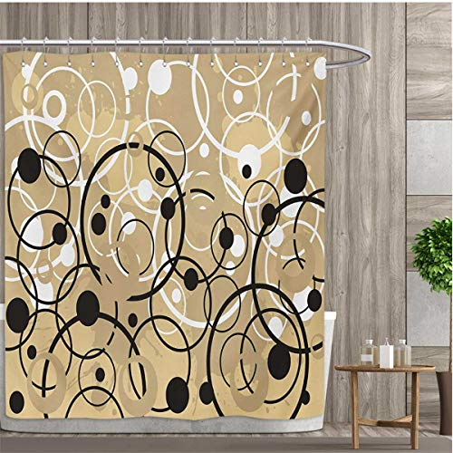 smallfly Tan Shower Curtains Digital Printing Funky Grungy Composition with Circles and Dots Retro Artistic Imaginative Print Satin Fabric Bathroom Washable 108