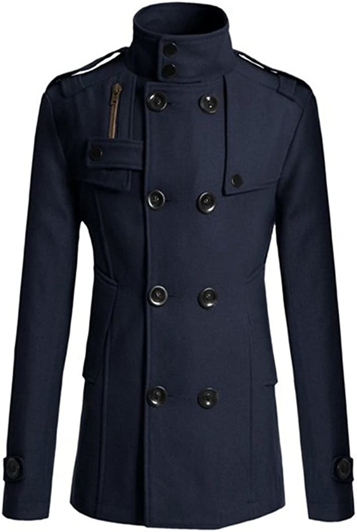 Raylans Mens Classic Slim Solid Fit Wool-Blend Double Breasted Collar Pea Coat