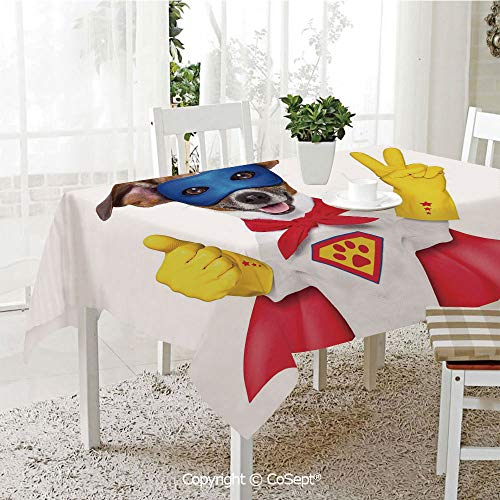 SCOXIXI Rectangle Tablecloth,Super Puppy Hero Dog in Cape and Mask Costume Humor Funny Cute Picture Decorative,Great for Table,Parties,Holiday Dinner(60.23