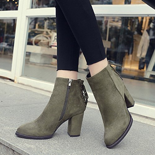 XZ Thick Heel Martin Boots Round Head Side Zipper Female Boots Short Boots Green AS5nBXqx5