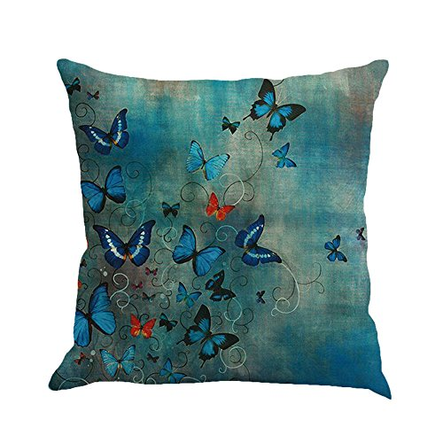 huoaoqiyegu Butterfly Painting Linen Waist Throw Pillowcase Sofa Cushion Cover Home Decor