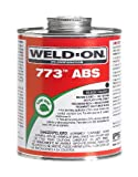 Weld-On 10243 Black 773 Medium-Bodied ABS Professional Plumbing-Grade Cement, Fast-Setting, Low-VOC, 1 quart Can with Applicator Cap