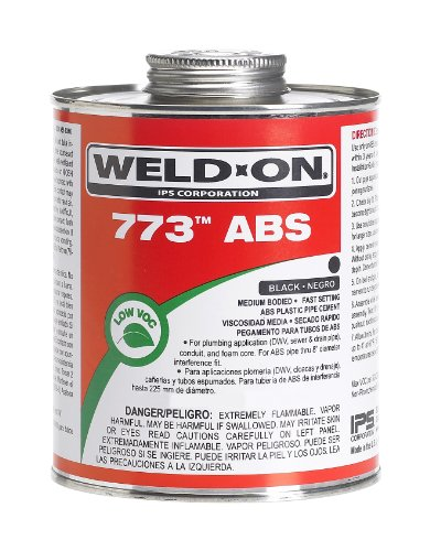 Abs Plastic Glue (Weld-On 10245 Black 773 Medium-Bodied ABS Professional Plumbing-Grade Cement, Fast-Setting, Low-VOC, 1/2 pint Can with Applicator Cap)